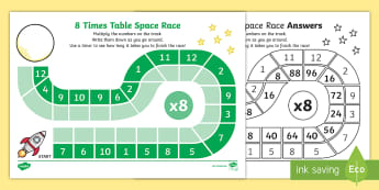8 Times Table Space Race Activity Sheet - 8 Times Table Space Race Activity Sheet - multiplication, multiply, sheet, mulitplication, multipica