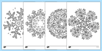 Mindfulness Colouring Snowflakes - mindfulness, colouring, snowflakes, colour, plu eira