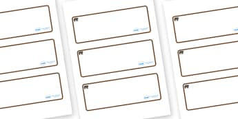 Bear Themed Editable Drawer-Peg-Name Labels (Blank) - Themed Classroom Label Templates, Resource Labels, Name Labels, Editable Labels, Drawer Labels, Coat Peg Labels, Peg Label, KS1 Labels, Foundation Labels, Foundation Stage Labels, Teaching Labels