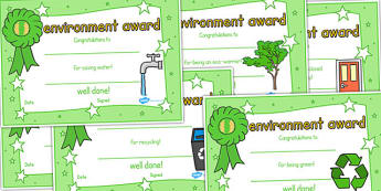 Environment Certificates - environemnt, certificate, award, reward, Eco School, Eco, Recycle, recyling, eco class, recycling posters, A4, saving, water, turn off, lights, computer, electricity