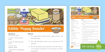 Edible 'Puppy Snack' For Kids Recipe - pets, class pets, family pets, recipe, edible puppy snack recipe, dogs, puppies, pets recipe