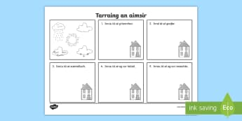 Draw the Weather Worksheet / Activity Sheet Gaeilge - Read and draw, léigh agus tarraing, draw the weather gaeilge, tarraing an aimsir, Irish