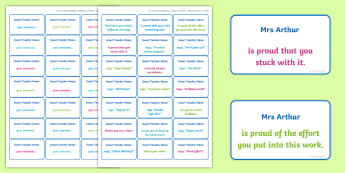 Personalised Editable Growth Mindset Feedback Stickers - Growth Mindset, learning, goals, progress, self-awareness, metacognitive, metacognition, reporting,