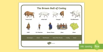 The Brown Bull of Cooley Word Mat - Irish, legend, story, tale, spelling aid