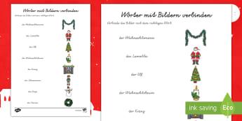 Weihnachten Wörter und Bilder verbinden Arbeitsblatt German/Deutsch - Weihnachtlich, Dezember, Advent, Vorweihnachtszeit, Vokabular, Wortschatz,,German