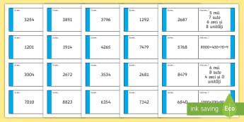Descompuneri: mii, sute, zeci și unități Joc - jocuri matematice, numere, descompunere, valoare pozițională, valoare pozitionala, Romanian