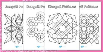 Rangoli Patterns Templates - Diwali Colouring Patterns