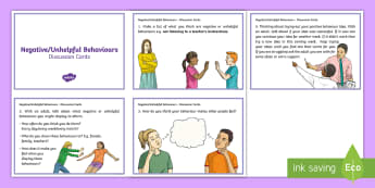 Negative or Unhelpful Behaviour Discussion Cards - young people, behaviour management, targets, goals