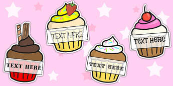 Pupil Self-Registration Editable Cupcakes 2 per A4 - cakes, bake