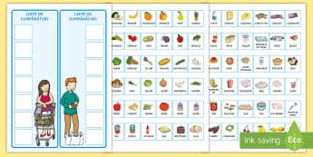 Lista de cumpărături cu cartonașe ilustrate Activitate - comunicare, joc de rol, la cumparaturi, alimentatie, alimente, sunt sanatos, mancare, Romanian