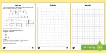 Spirals Maths Investigation Worksheet / Activity Sheet -  position, direction, turn, right, left, worksheet, instructions, algorithm, coding