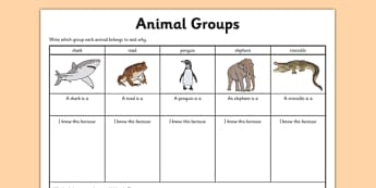 Animal Group Worksheet - grouping animals, classifying animals, classifying animals worksheet, mammals fish and reptiles worksheet, living things, ks2