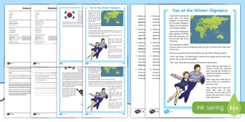 KS1 Fun at the Winter Olympics Differentiated Reading Comprehension Activity - pyeongchang south korea, fiction text, retrieve information from a text, answer questions, winter sp