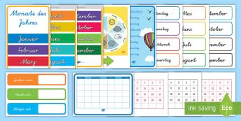 Kalender Materialienbündel - Jahr, Monat, Tag, Wochentag, Wochenende, Klassenraumgestaltung, HSU,,Australia