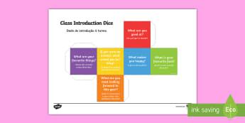 Dado com perguntas de introdução à classe - ferias, verao, pausa, descanso, comeco de aulas, escola