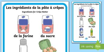 Crêpes Ingredients Vocabulary Poster A4 Display Poster French - Batter Pancake, Recipe, KS1, recette, crêpes, KS2, vocabulaire, vocabulary,-translation
