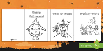 Happy Halloween Colouring In Cards - Themed, Gift, Spooky, Scary, Giving, Colourful, Colouring Activity, Key Stage One