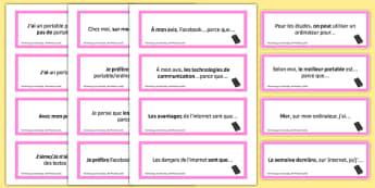 General Conversation Question Prompt Cards Technology in Everyday Life - french, Conversation, Speaking, Questions, Teschnology, Technologie, Social Media, Mobile, Internet, Computer, Ordinateur, Portable, Réseaux, Sociaux, Cartes