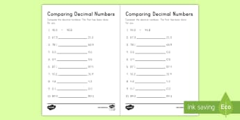 Comparing Decimal Numbers Activity Sheet - comparing, decimals, tenths, place value, ordering, worksheet