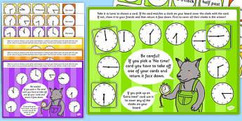 O'Clock, Half Past, Quarter Past and Quarter to Time Bingo and Lotto Game - ESL Time Games