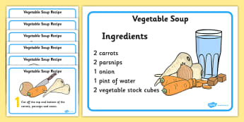 Veg Soup Recipe - vegetable soup, recipe, card