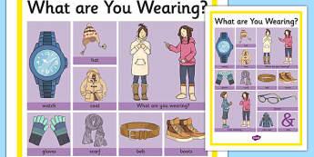 Clothes 2 Word Grid - clothes, word mat, word, mat, clothing, cloth, garments