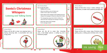 Santa's Christmas Whispers Game Challenge Cards - Talking, listening, Christmas party Games, Drama games, Christmas Team building
