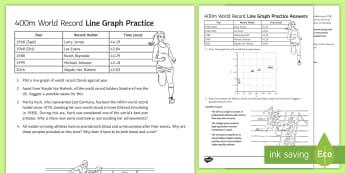 400m World Record Data Handling - Data Handling, line graphs, athletics