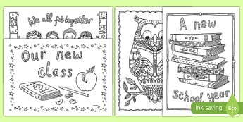 Back to School Themed Mindfulness Coloring - adult colouring, returning, new starters, academic year, ks1, ks2, art, colour, in the lines, color in the lines, coloring