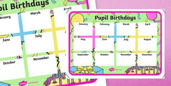 Pupil Birthdays A4 Display Poster-Irish