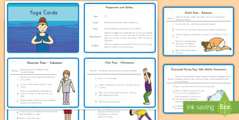Yoga Moves to Promote Sleep and Relaxation Activity  - yoga, health, relaxation, sleep, stress relief, cards, activity