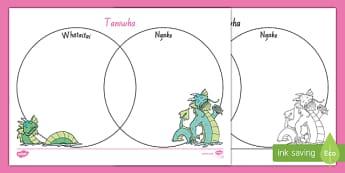 Taniwha  Ngake and Whātaitai   Venn diagram Worksheet / Activity Sheet, worksheet