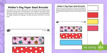 Canada Mother\'s Day 14th May Paper Bead Bracelet Activity - Mother's Day, Arts, Visual Arts, Crafts, Bracelet, template, Primary Grades, Grade 1, Grade 2, Grad