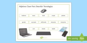New Technologies Key Adjectives Word Mat Spanish - KS4, Spanish, New Technologies, everyday, life, ordenador, movil, teléfono, tableta, portatil, vide