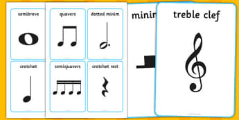 Musical Notation Cards - musical note, musical note cards, musical notation, semibreve, minim, crotchet, quaver, rest, music, playing instruments, instrument, piano