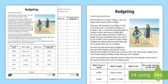 Budgeting for a Summer Holiday Money Worksheet / Activity Sheet - Maths, year 5, money, budgeting, addition, subtraction, decimal numbers, budget, calculation,Austral
