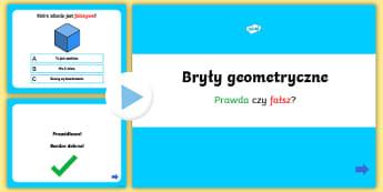 Prezentacja PowerPoint Quiz Bryły geometryczne - bryly, geometria, geometryczne, matematyka, matematyczne, stozek, kula, szescian, prostopadloscian,
