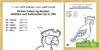 Pirates Colour by Number Addition and Subtraction Up to 100 Arabic/English - Addition, subtraction, colouring, fine motor skills, maths, EAL