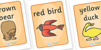 Display Posters to Support Teaching on Brown Bear, Brown Bear - Brown Bear, Brown Bear, Bill Martin,  red bird, yellow duck, blue horse, green frog, purple cat, colours, animals, animal names, story, story book, story book resources, story sequencing