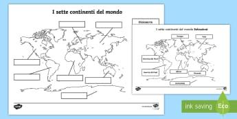 I sette continenti del mondo Attività - geografia, mappa, continenti, nazioni, italiano, italian, materiale, scolastico
