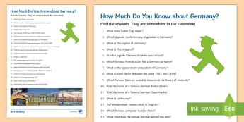How Much Do You Know about Germany? Activity Sheet - key, facts, general Knowledge, Fun, facts,German