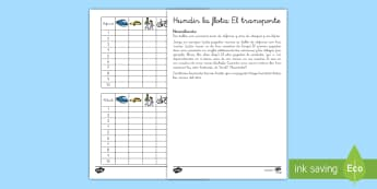 Juego: Hundir la flota - Transporte en inglés   - transport, lengua extranjera, inglés, english, game, ,Spanish-translation
