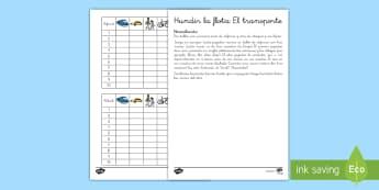Juego: Hundir la flota - Transporte en inglés   - transport, lengua extranjera, inglés, english, game, ,Spanish-translation
