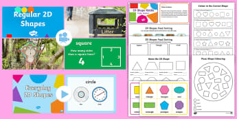 KS1 2D Shapes and Their Properties Video Activity Pack - Animation, video, KS1, maths, 2D shapes, properties, corners, sides, square, rectangle, triangle, ov