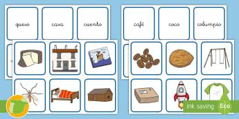 Tarjetas de emparejar: La C/Qu - Juego, lecto, leer, lectura, fonemas, sonidos, didáctico, consonantes, Spanish
