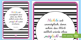 Nichts ist unmöglich Motivierendes Poster für die Klassenraumgestaltung - Motivation, Inspiration, Zitate, Deko, Klassenzimmer, ,German