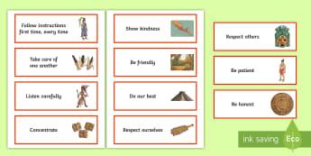 KS2 Aztec-Themed Class Charter Cards - rules, behaviour, display, back to school, teacher organisation