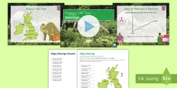 Dippy Tours the UK: Bearings Activity Pack - bearings, maps, north, degrees, dippy, cartography, Uk, geography,