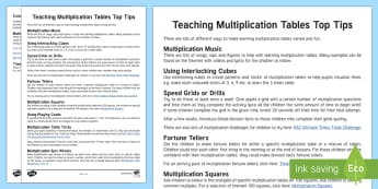 Teaching Multiplication Tables Top Tips - Maths, times tables, teaching ideas, KS1, KS2, x tables, multiplication, division