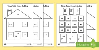 5 Times Table House Picture Building Activity  - multiplication, times tables, home learning task, worksheet, practical maths